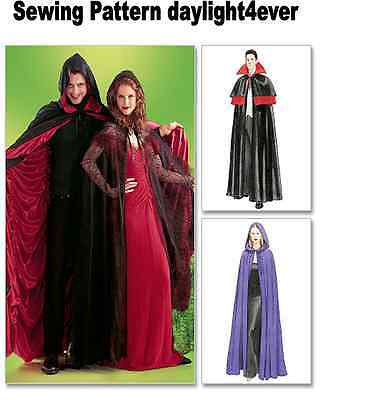 Women Men Cape Halloween Costume Sewing Pattern 4139 McCall's Size S-XL New #i