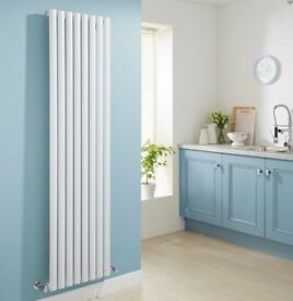 WHITE VERTICAL SINGLE OVAL TUBED RADIATOR 1780 X 472MM, NEW