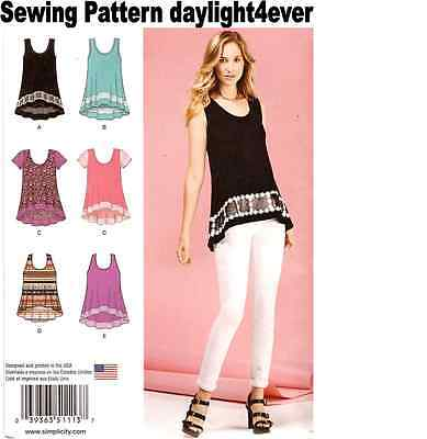 Women Easy-To-Sew Knit Tops Simplicity Sewing Pattern 1113 New XXS-XXL #v Easy To Sew Patterns