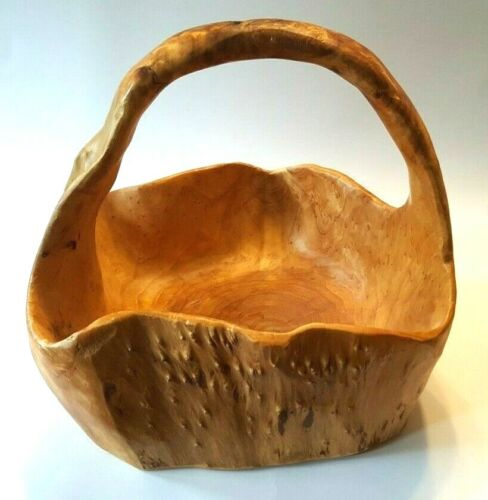 Burl Wood Hand Carved Basket Tree Knot with Handle - NICE!