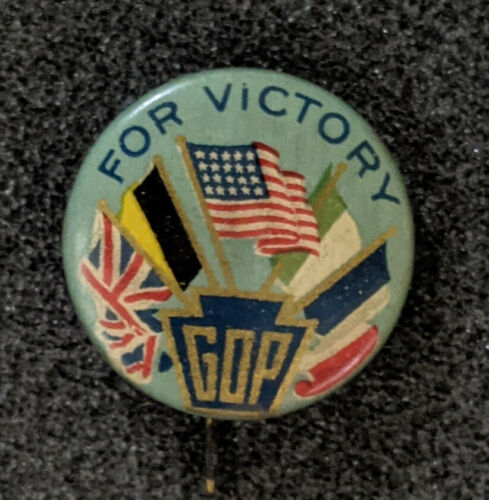 """Vintage 1918 Republican Midterms """"GOP For Victory"""" Allies Flags Pinback"""