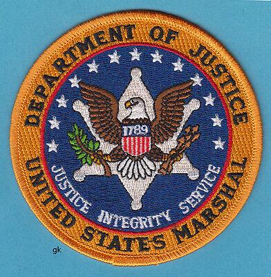 DEPARTMENT OF JUSTICE US MARSHAL SHOULDER PATCH ( 4' Blue center)