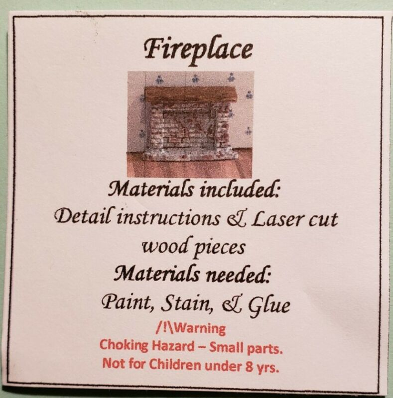 Dollhouse Miniature 1:144 Scale Brick Fireplace KIT