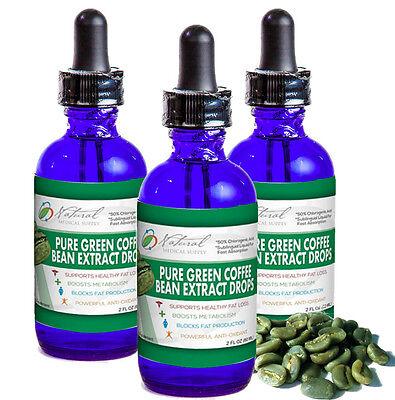 3 Green Coffee Bean Strain Loss Drops. Pharmaceutical Grade 500mg 3 -2oz Bottles
