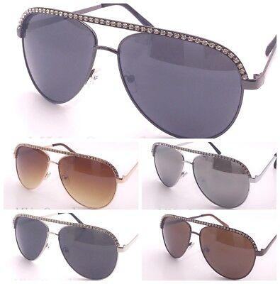 New mens Womens Rhinestones Fashion Metal Frame Aviator Sunglasses - Metal Frame Rhinestones