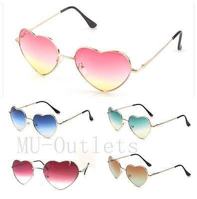 New Vintage Retro Fashion Lolita Heart Shaped Aviator Metal Frame Sunglasses