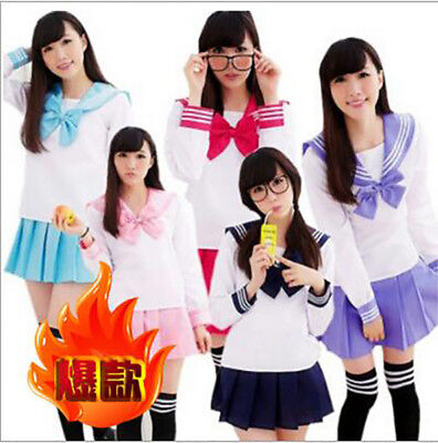 Japanese School Girl's Dress Outfit Sailor Uniform Cosplay Costume Fancy Dress (School Girl Attire)