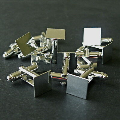 10 x SILVER PLATED FLAT SQUARE CABOCHON BLANK CUFFLINKS  FIT 10x10mm - 5 PAIRS