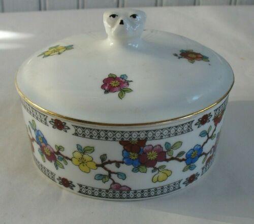 Vtg porcelain covered round box Dog head finial Czech Powder trinket dish farber