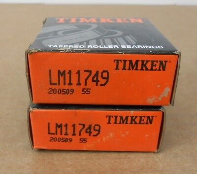 Lot 2 Nib Timken Lm11749 Tapered Roller Bearing Cone 0.6875 X 0.5750 5 Avail