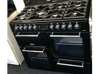 a145 black leisure 100cm dual fuel range cooker new graded with 12 month warranty can be delivered