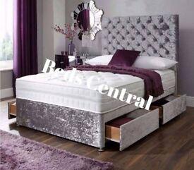 Crushed Velvet Divan Bed With Princess Headboard & Mattress*
