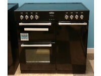 a751 black belling 90cm ceramic hob double oven electric range cooker new with warranty