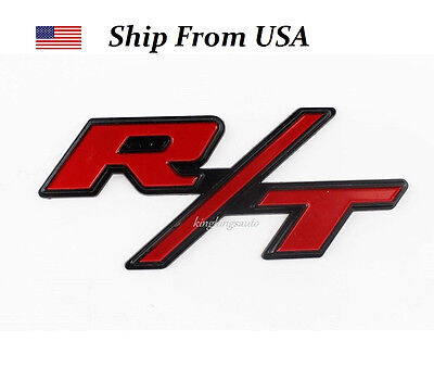 R/T RT Grill Trunk Metal Emblem Badge w/ Sticker for Dodge Challenger Charger ()