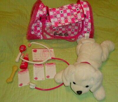 Barbie*Pet Vet*Set*Interactive Toy Plush Light Beige Dog*Accessories*Pink Bag