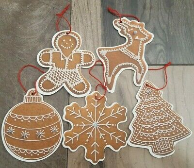 Christmas Holiday Cookie Ornament - Gingerbread Cookie Shaped Christmas Ornaments - 5 Pack - NEW Tree Holiday