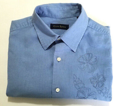 (Club Room  Mens S Panel/Camp Shirt, Light Blue with Embroidered Flowers)