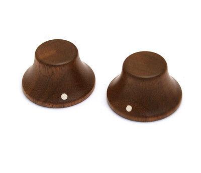 (2) Walnut Bell Knobs for Guitar/Bass for 6mm Split Shaft PK-3197-0W0