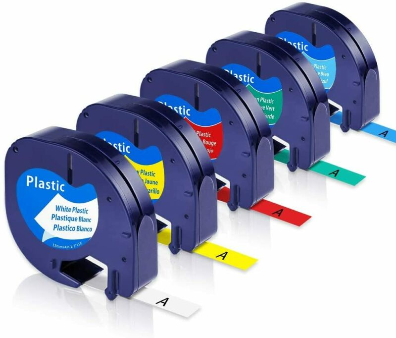 5PK Replace DYMO LetraTag Refills 91330 91331 Label Maker LT-100H LT-100T 12mm