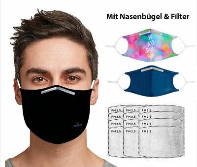 3 x Mund-Nasen-Masken mit Bügel & Filter waschbar wiederverwendba 3 Farben ✅ DE
