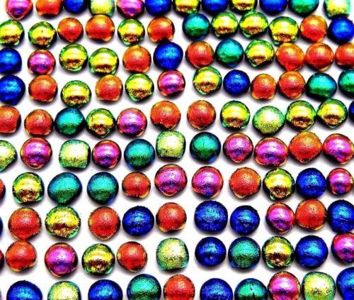 TINY Lot 120 pcs DICHROIC mosaic FUSED GLASS (V10) CABOCHON JEWELRY MAKING