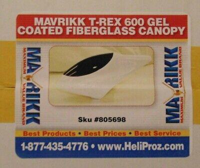 MAVRIKK WHITE GEL COATED FIBERGLASS CANOPY FOR ALIGN T-REX 600 (Gel Coated Fiberglass)