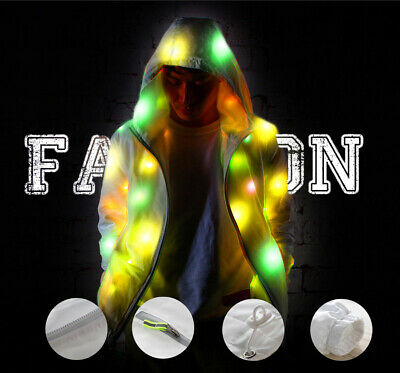 LED Light Up Plus Baseball Jacket Glow Men Women Hooded Halloween Party Costume