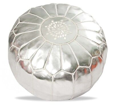 Moroccan Leather Pouf - Silver