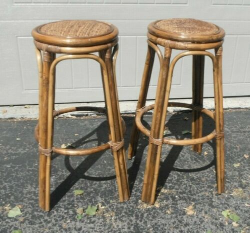 "Vintage Pair of Rattan/Bamboo Bar Tiki Bar Stools w/ woven seat 29"" mid century"