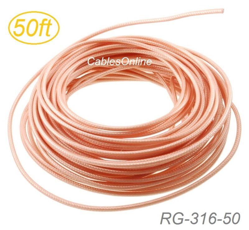 50ft RG316 Bulk 50 Ohm High Temperature Coax Cable, RG-316-50