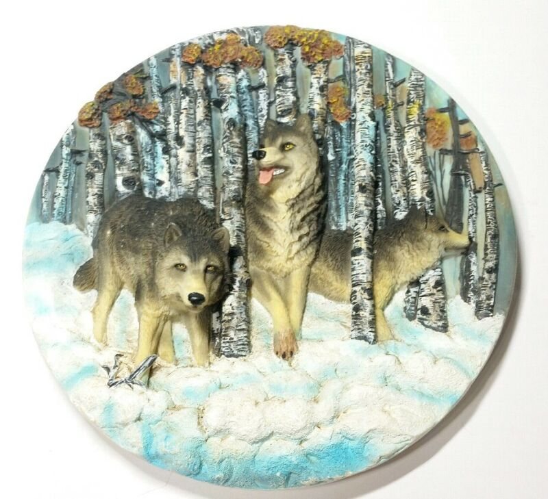 Decorative Wolf Plate 3D Forest Woods Snow Hunting EUC