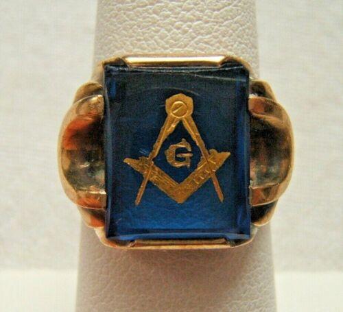 10K GOLD MASONIC RING WITH BLUE STONE