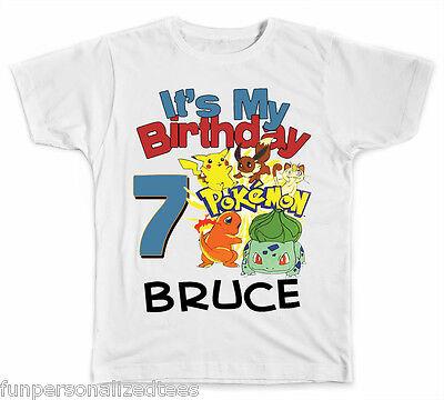 Personalized It's My Birthday Pokemon T-Shirt