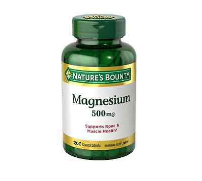 Nature's Bounty Magnesium 500mg Size, Coated Tablets 200 ea