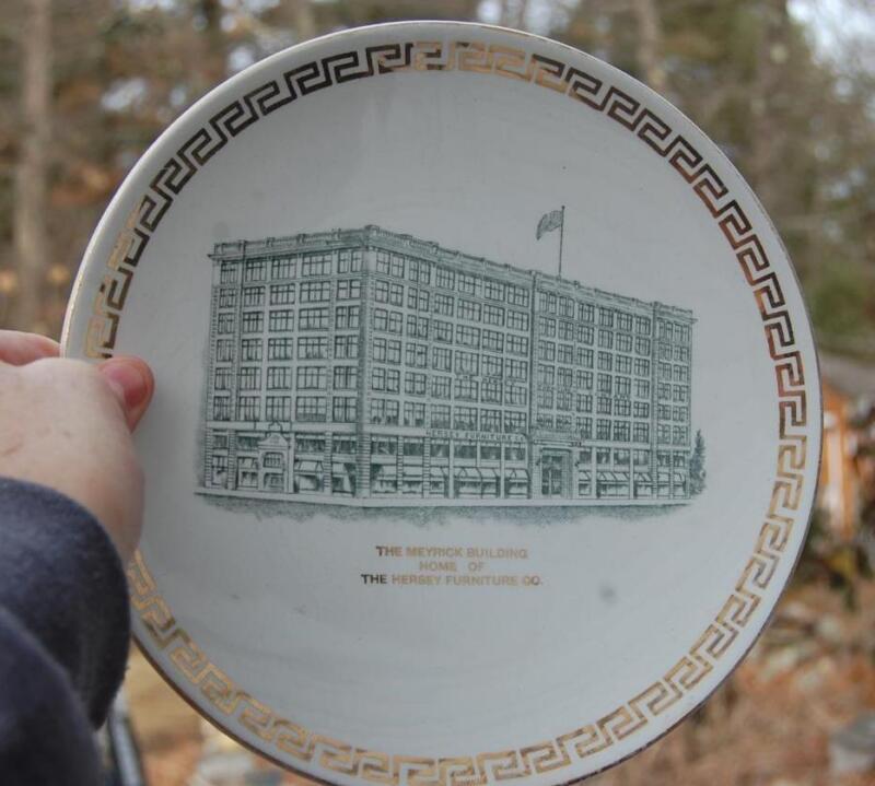 RARE Circa 1910 HERSEY FURNITURE CO. MEYRICK BUILDING ADVERTISING PLATE