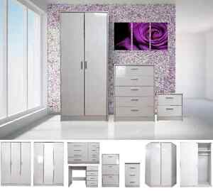 High-Gloss-White-Bedroom-Furniture-Range-Wardrobe-Tallboy-Chest-Bedside-Set