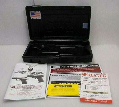 RUGER 9MM LUGER BLACK PLASTIC STORAGE CASE WITH OWNERS MANUAL MODEL 03313 KSR9C