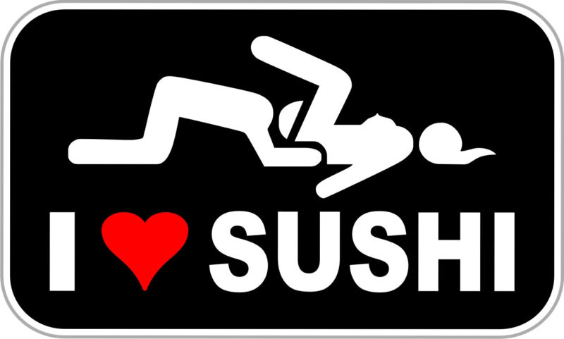 """I Love Sushi Funny Decal - Funny Stickers - 5"""""""