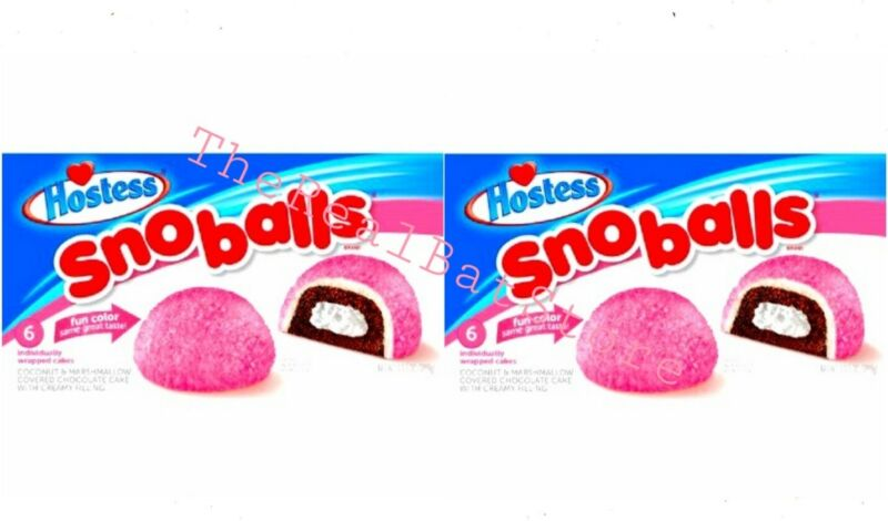 2 Hostess Snoballs marshmallow Cake Six per box 10.5oz