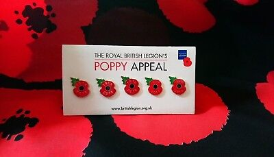 2018 Poppy Lapel Pin Badge Set - The Poppy Appeal - British Legion