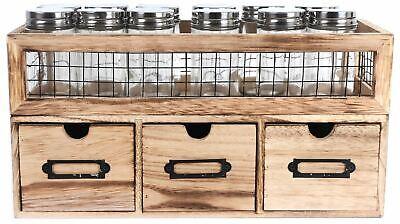 Premium Kitchen Freestanding 12 Jar 3 Drawer Spice Rack Holder Unit Cabinet
