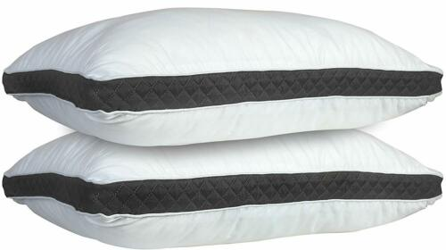 Bed Pillows Set of 2 Gusseted Neck Support Soft Pillow For Side & Back Sleepers
