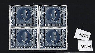 MNH Hitler stamp block / PF08 + PF22 1943 Birthday / WWII Germany / Third Reich Blue Birthday Block