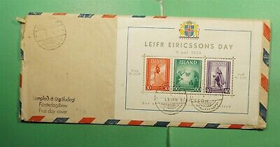 DR WHO 1938 ICELAND FDC LEIF ERICSSON DAY S/S  g12607