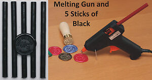 Wax Seal Stamp Melting Gun For Sealing Wax UK Plug, with 5 FREE sticks