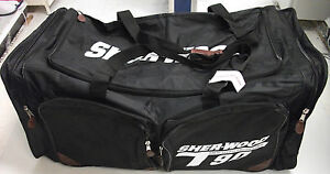 New-Sherwood-T90-senior-ice-hockey-goalie-bag-black-large-sr-40-black-goal-pad