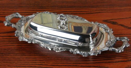 Antique Crosby Silverplate Butter Dish With Glass Insert