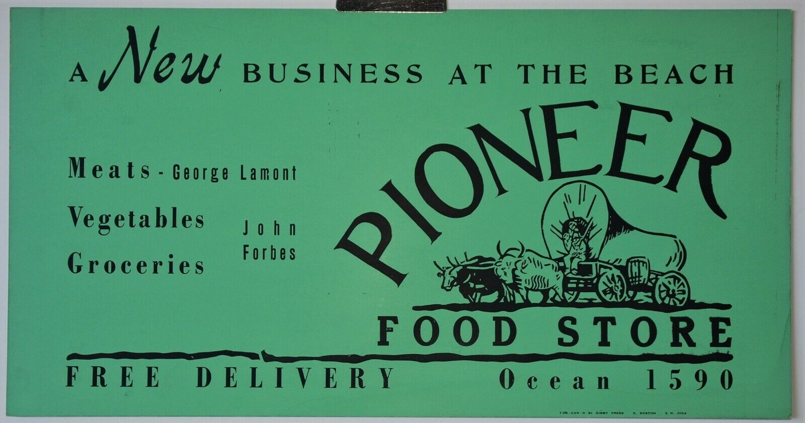 1930s+Trolley Ad-PIONEER FOOD's-Winthrop MA-LAMONT-FORBES-Ox Team-Covered Wagon