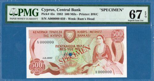 Cyprus, 500 Mils, 1982, A000000 Specimen, Superb Gem UNC-PMG67EPQ, P45s