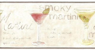 Martini Glass Wallpaper Border (5510863 Waverly Wallpaper Border Dry Martini Glass Green Red Kitchen Bar )